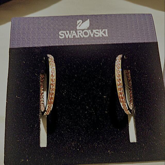 authentic SWAROVSKI pink gem hoop earrings