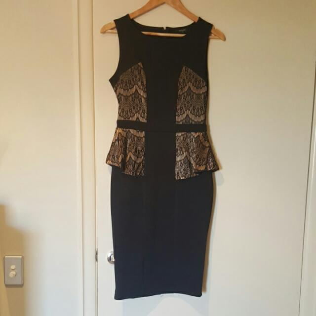 Black and lace pattern dress