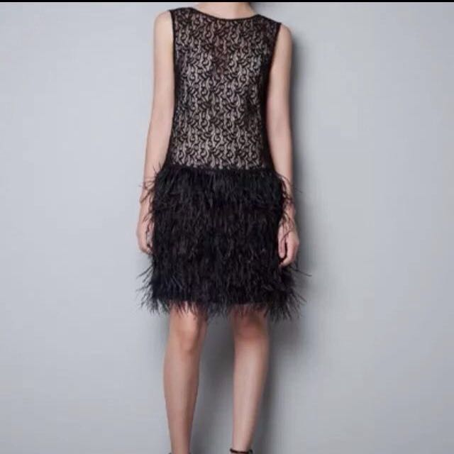 Black BRAND NEW Zara Dress with lace feathered skirt