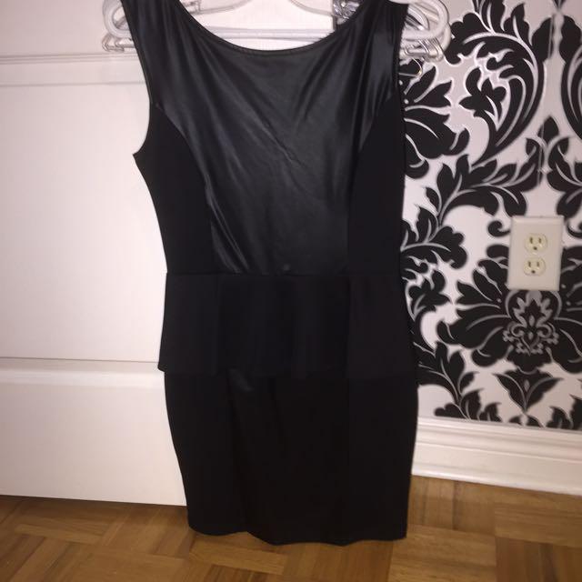 Black Leather Peplum Dress