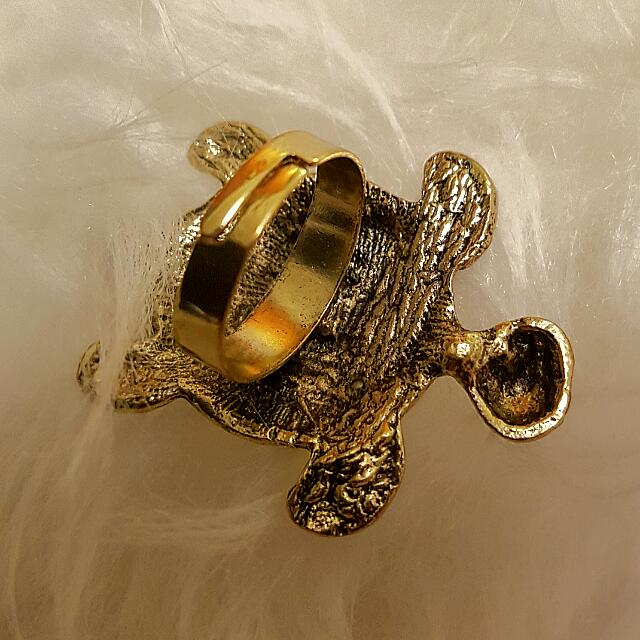 Brand New Gold With Pearls Turtle Adjustable Ring