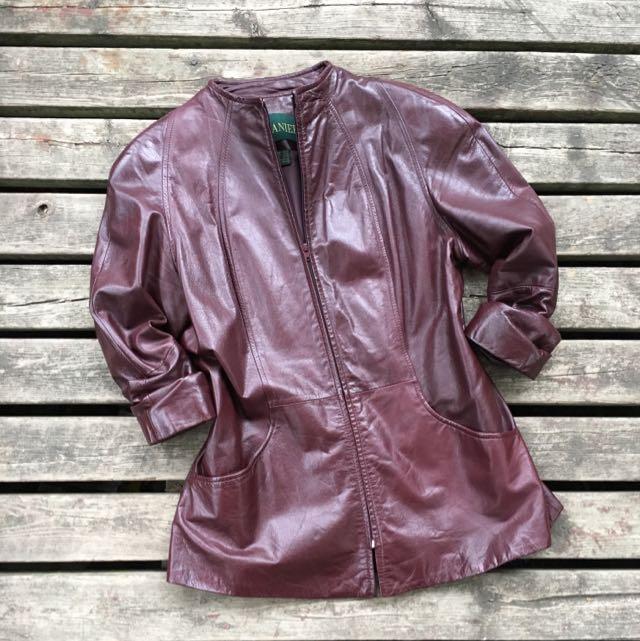 Danier Women's Maroon Leather Mandarin Jacket