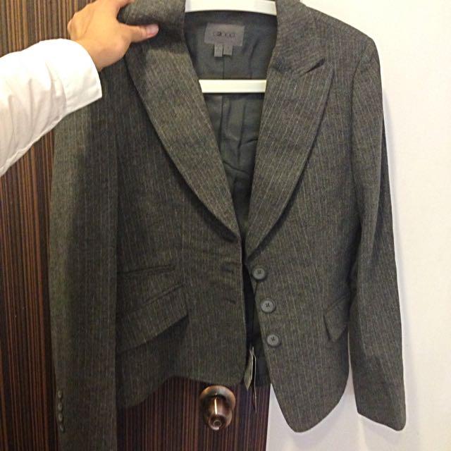 G2000灰色毛呢條紋西裝外套