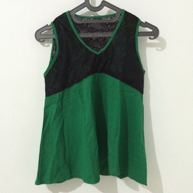 Green Brukat Top