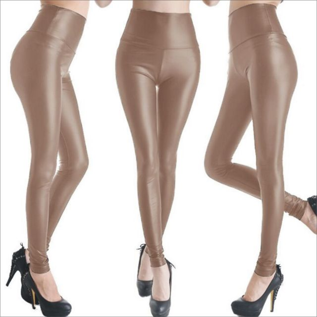 High waist Khaki leather look leggings