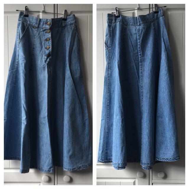 Jean Long Flare Skirt