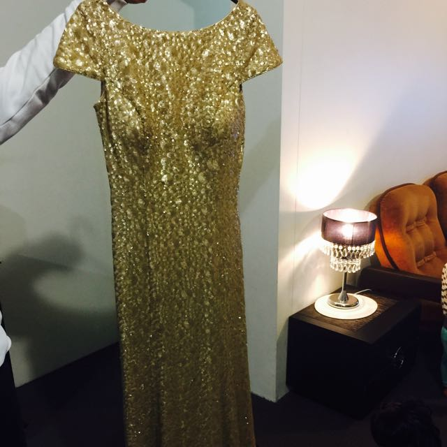 Long Golden Evening Wear
