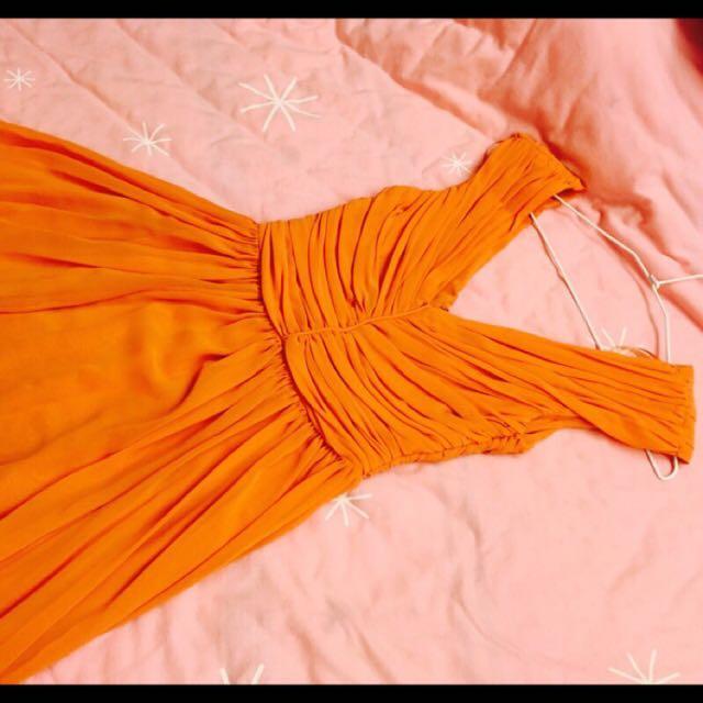 Mango粉橘色 洋裝