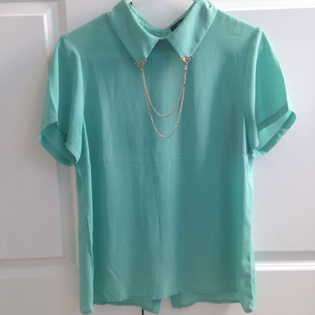 Mint Green Jewelled Collar Dress Shirt