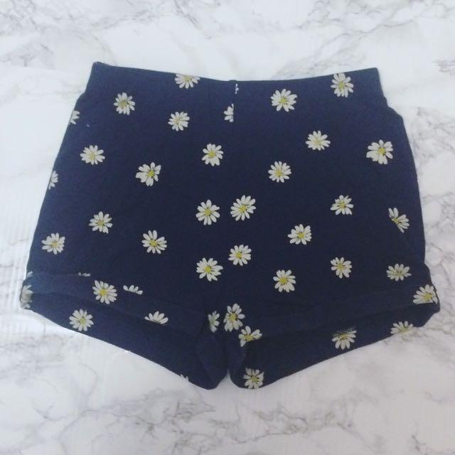 Navy Blue Daisy Shorts