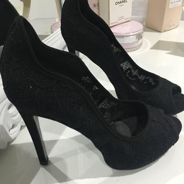 Nine West Shoes Black Lace Peep Toes