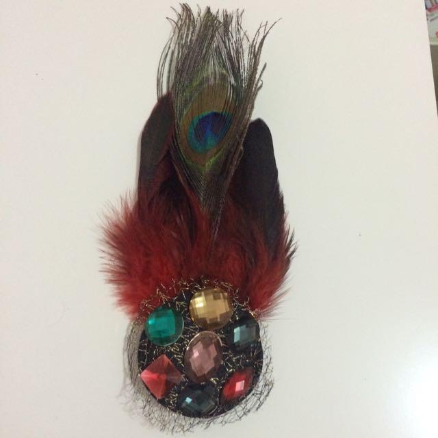 Peacock Red Hair Clip