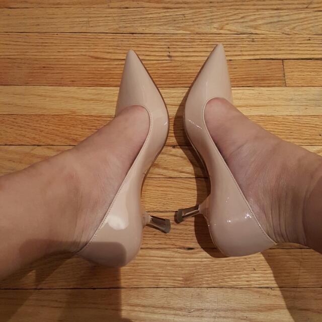 Prada Curved Heel Patent Leather Pumps