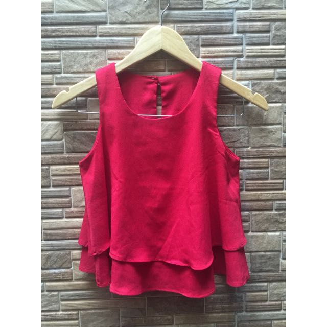 Red Sleeveless Layer Top
