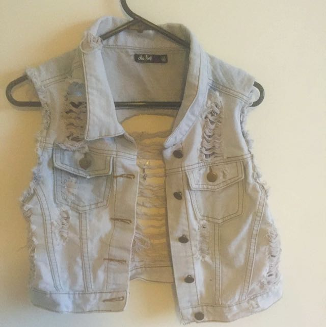 Ripped Denim Vest --pending--