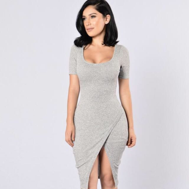 Sexy Grey Body Con Dress
