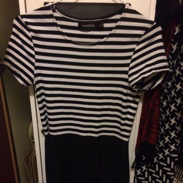Size S Mink pink Black & White Skater Dress