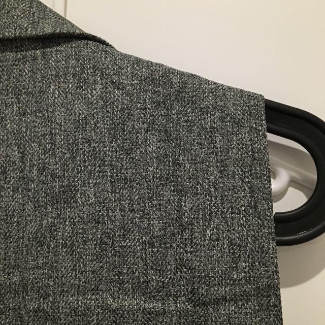 Sleeveless Blazer Longline Linen-like Material
