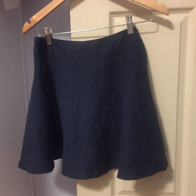 Suede Navy Skater Skirt