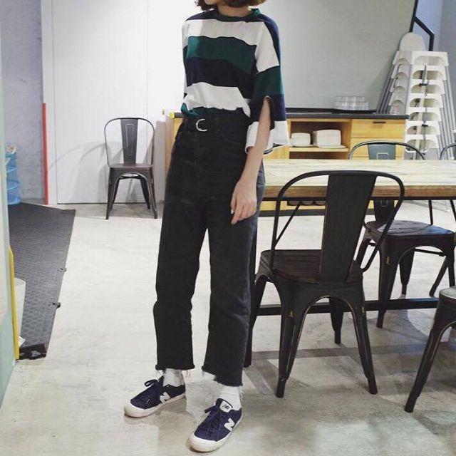 寬條紋五分袖韓版T