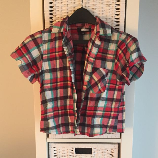 Urban Outfitters Cropped Short Sleeve Flannel