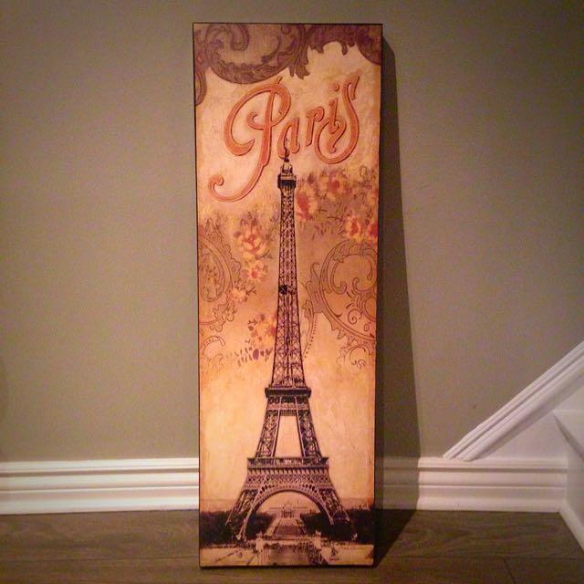 Wooden Paris painting