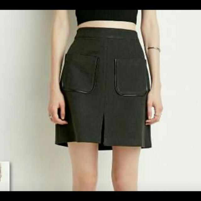 XXI faux Leather Trim Skirt