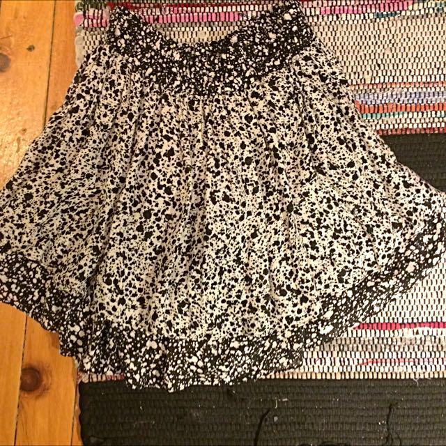Zara Layered Black And White Skirt