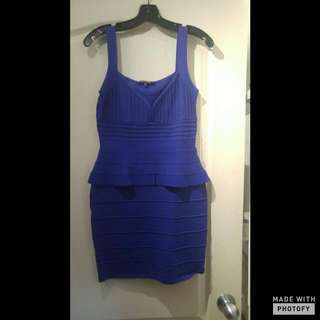 Ladies Royal Blue Peplum Bandage Dress