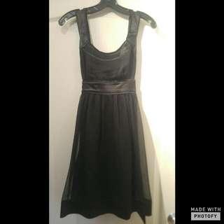 Black Knee Length Flare Dress