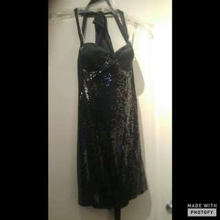 MARCIANO Tie Up Back Sequein Fitted Dress