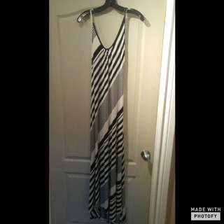 Long Striped Low Open Back Maxi Dress