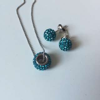 Sapphire Blue Necklace And Earrings Set