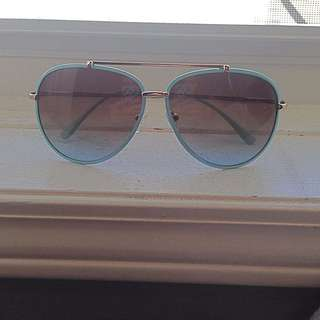 Teal And Gold Sunglasses
