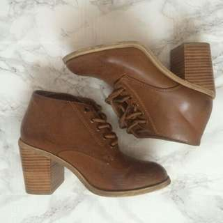 Brown Heeled Ankle Boots