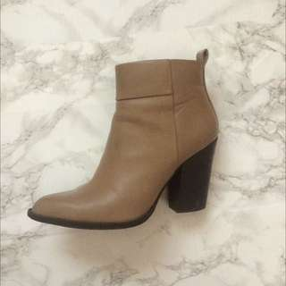 Beige Heeled Ankle Boots
