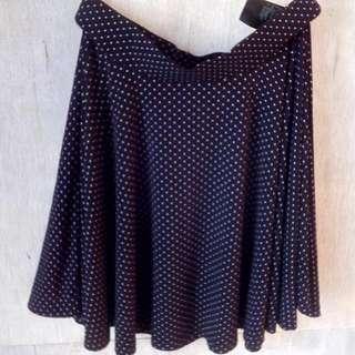 UNIQLO - Black Polka Flare Skirt