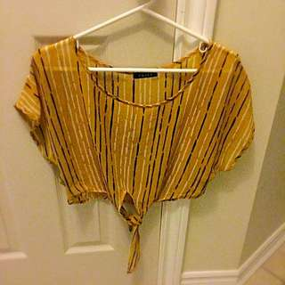 Yellow Chiffon Crop Top