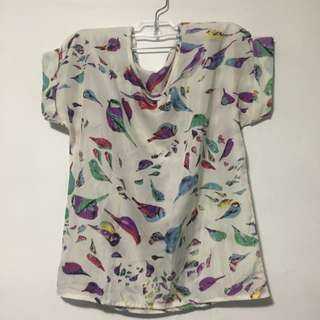 Chiffon Bird Printed Top