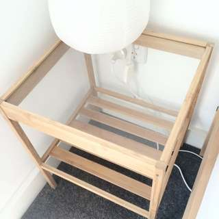 Glass Top Wooden Bedside Table With
