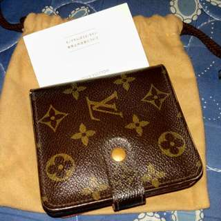 Auth Lv Short Wallet Monogram Canvass