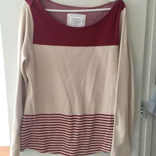 Country Road Red & Beige Jumper