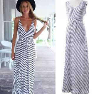 New S/M/L Beach/Casual Blue&White Stripe Dress