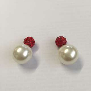 Faux Red Stone And Pearl Earrings