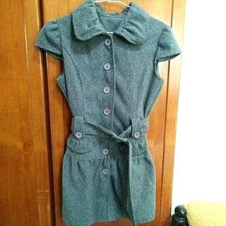 深灰氣質毛料連身裙/長外套