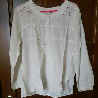 米白棉麻上衣