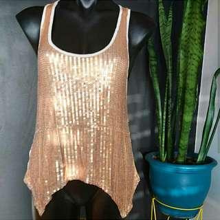 Women's Size S 8-10 'Cashmere' Stunning Bronze Sequins Irregular Top