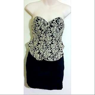 Hand Made Black and Cream Lace Dress