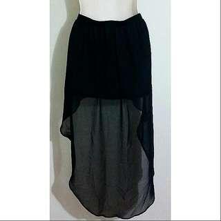 Black Sheer Drape Skirt