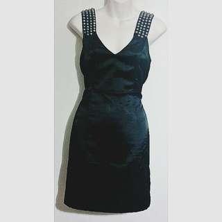 Satin Black Studded Dress